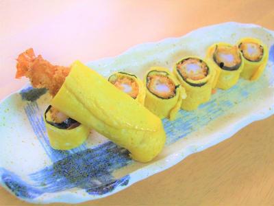 薄焼き卵×エビフライ