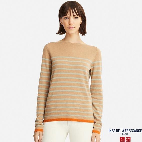 カシミヤボーダーセーター(長袖)