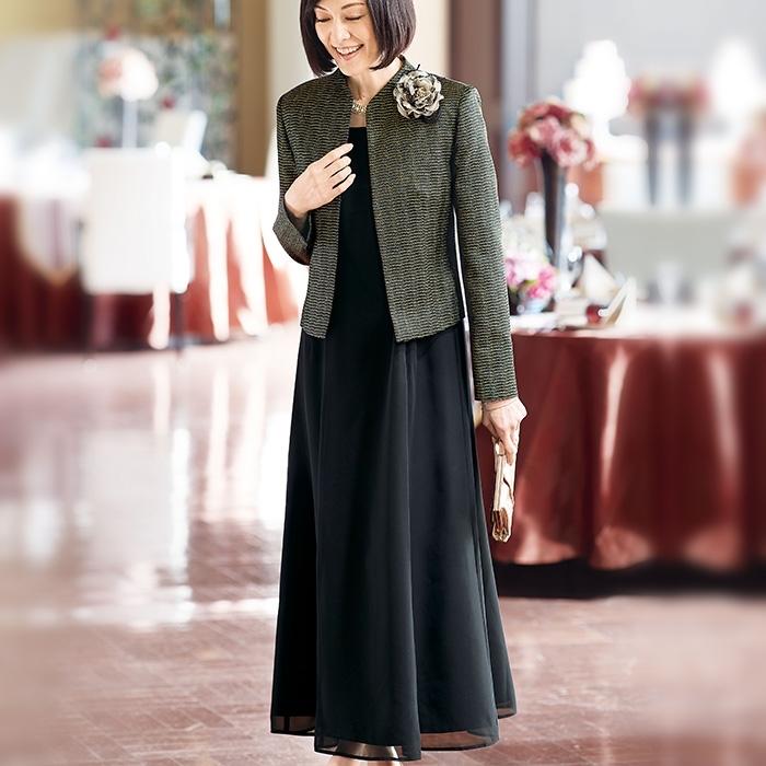 アンサンブルを使った結婚式の母親の服装