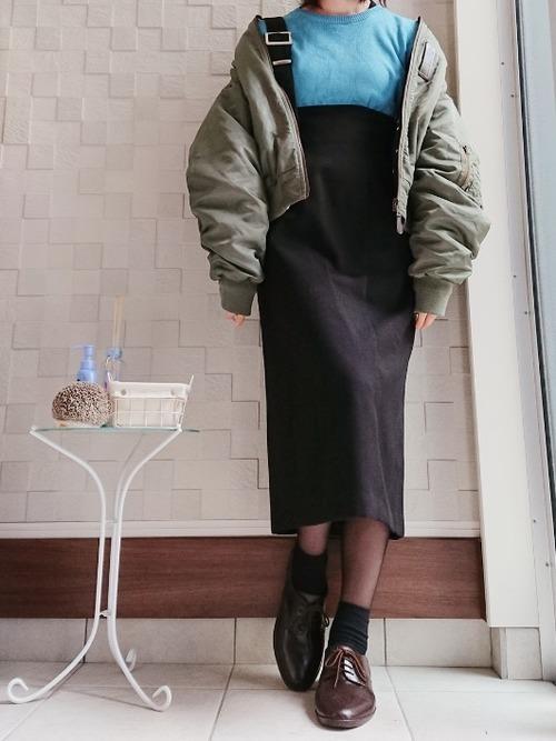 ワンショルダースカート×MA-1