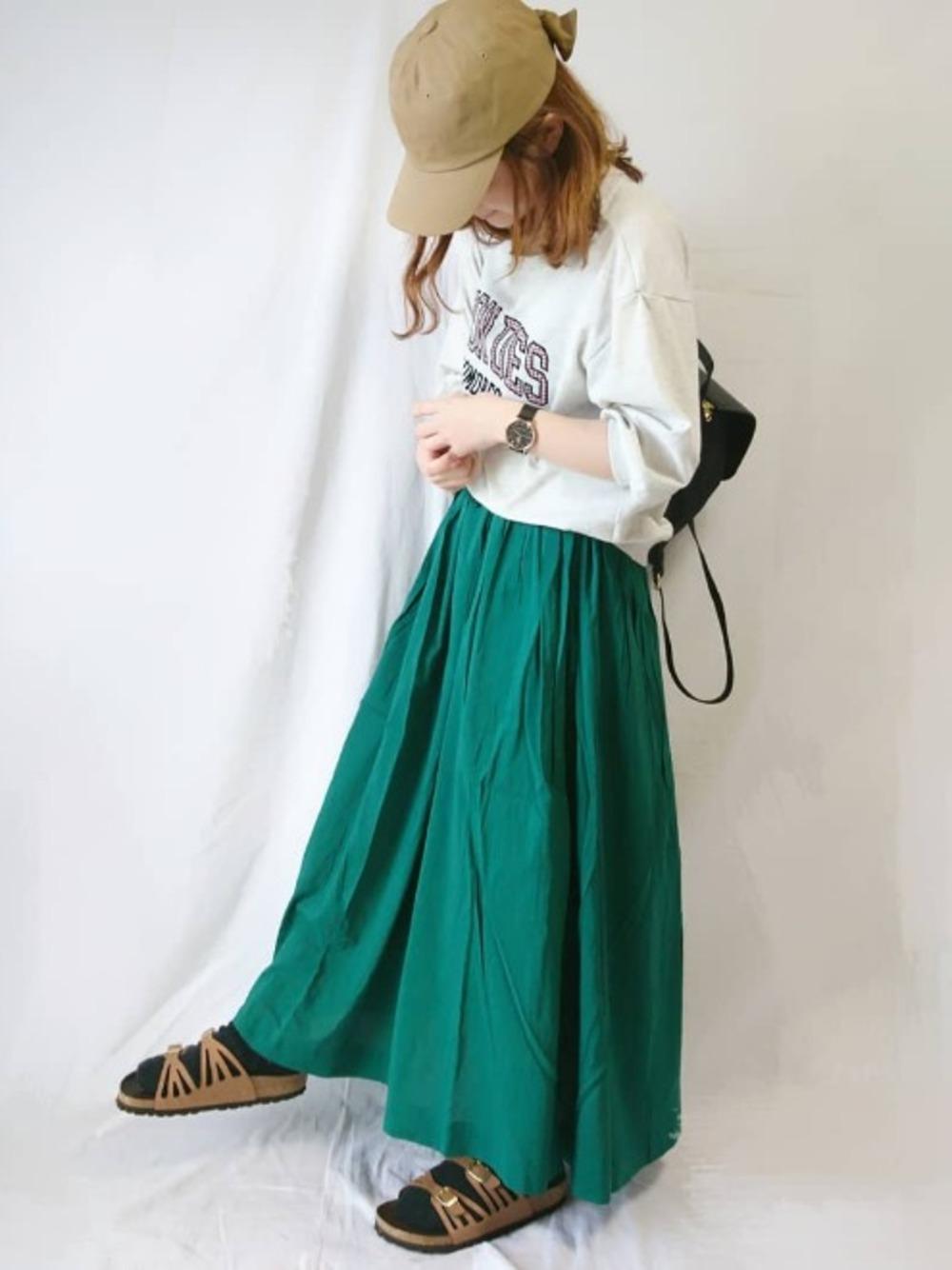 緑スカートとビルケンシュトック