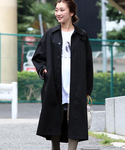 着痩せにおすすめの黒のステンカラーコート