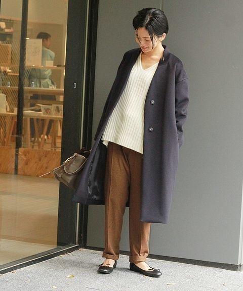 着痩せにおすすめのノーカラーコート