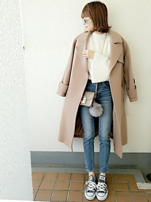 くすみピンクのコート