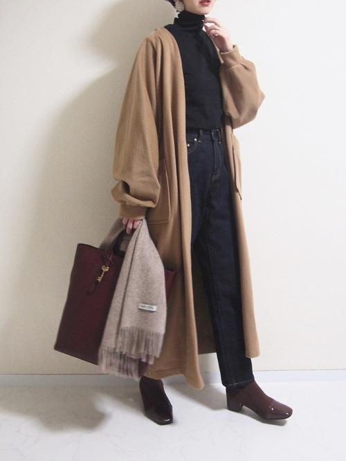 ロングコートを使った大分の服装