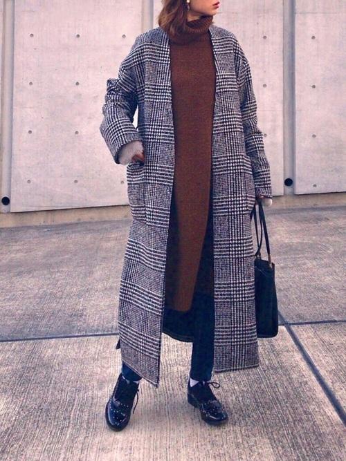 ブラウンワンピース×グレンチェックのコート