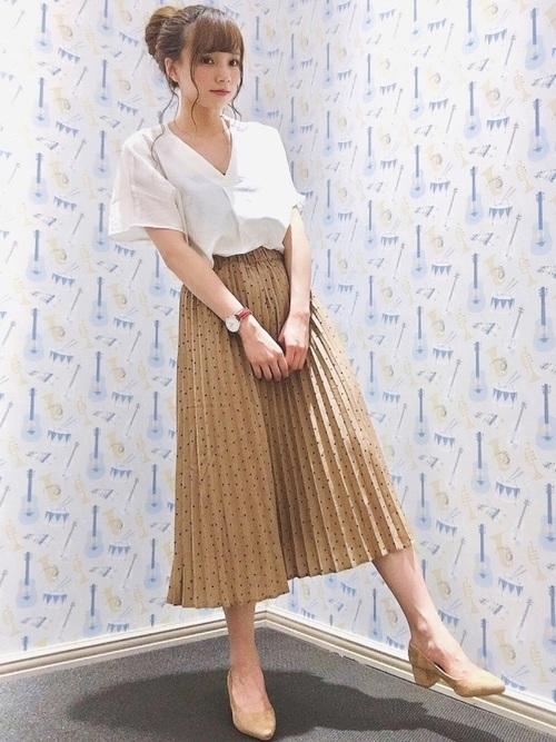 スキッパーシャツ×プリーツスカート