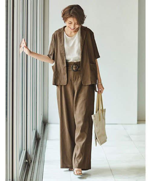 夏のレディースジャケットコーデ【9】リネンの風合いでナチュラル&リラックススタイル