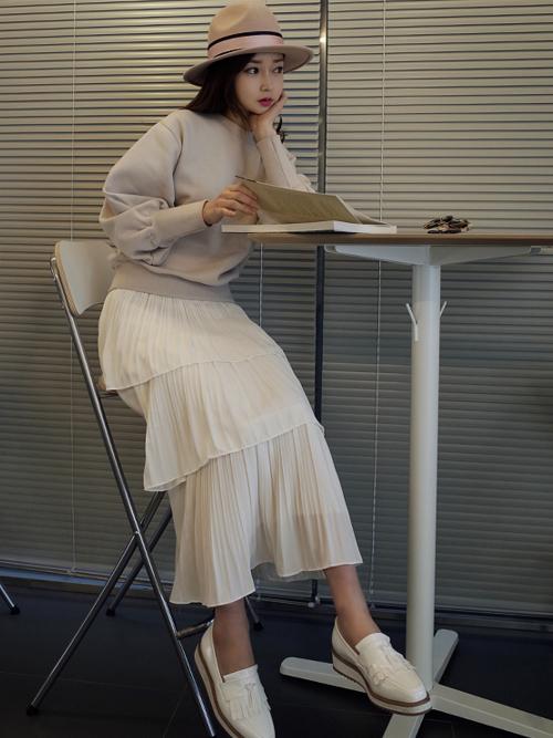 低身長女子におすすめのロングスカート×帽子のコーデ
