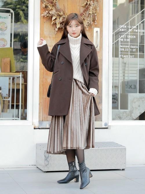 低身長女子におすすめの冬のロングスカートコーデ