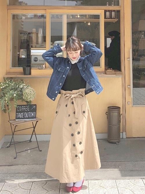ボリュームスカートを使ったコーデ【3】秋: