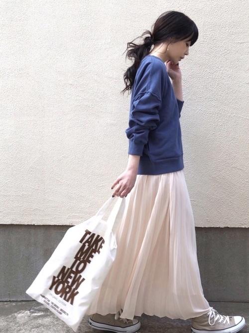 ボリュームスカートを使ったコーデ【1】春: