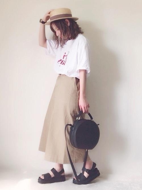ボリュームスカートを使ったコーデ【2】夏: