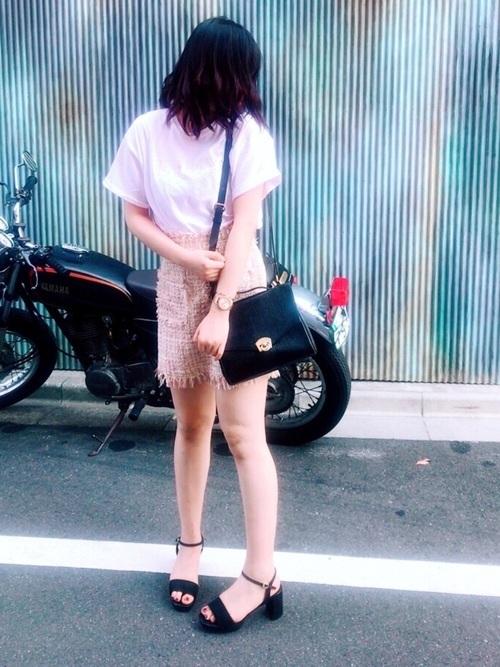 ツイードスカートを使ったコーデ