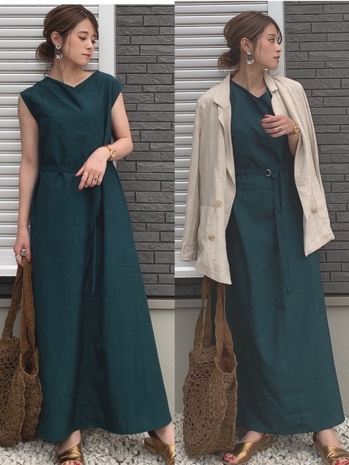 深緑ワンピ×ジャケットコーデ