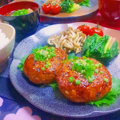 しょうがたっぷりおからパウダー入り豆腐と鶏むね肉の和風ハンバーグのレシピ