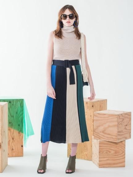マルチカラーパネルニットスカート