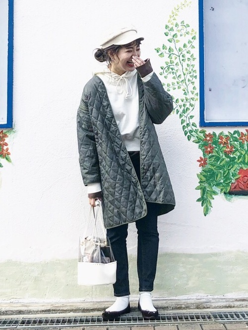 キルティングコートを使った3月の服装