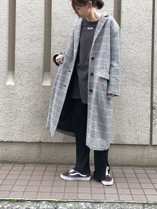 千鳥格子コートとラフコーデ