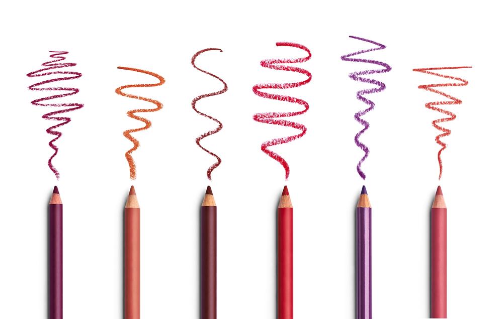 紫や赤などの色鉛筆