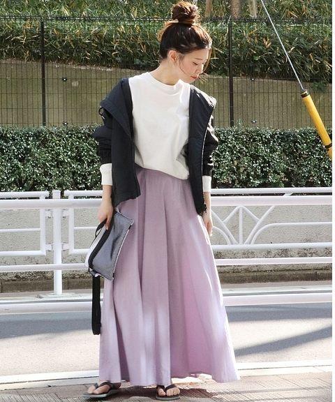 ラベンダースカートを使ったコーデ