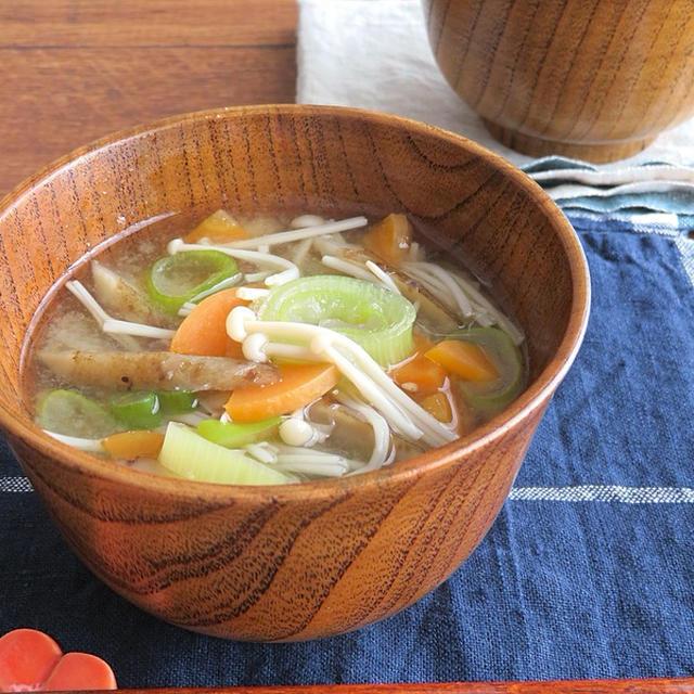 野菜不足解消に ほっこり簡単 5種野菜の具沢山みそ汁のレシピ