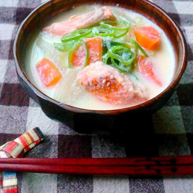 鮭の豆乳味噌汁のレシピ