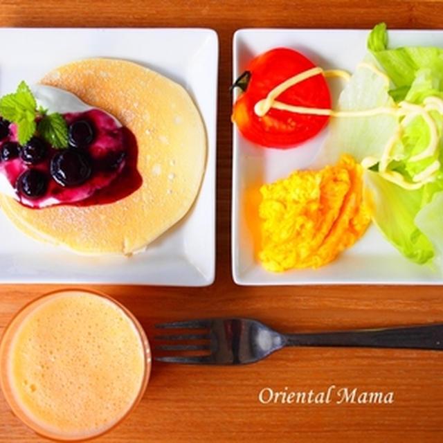 パンケーキ朝食のレシピ