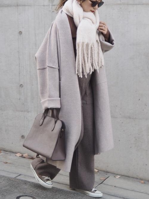 ロングコートを使った高知の服装