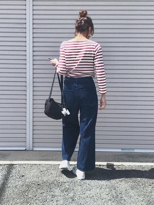 ユニクロのボーダーTシャツを使った夏コーデ