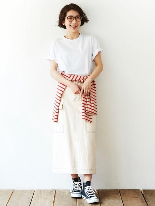 ロングスカートを使ったアウトドアの服装
