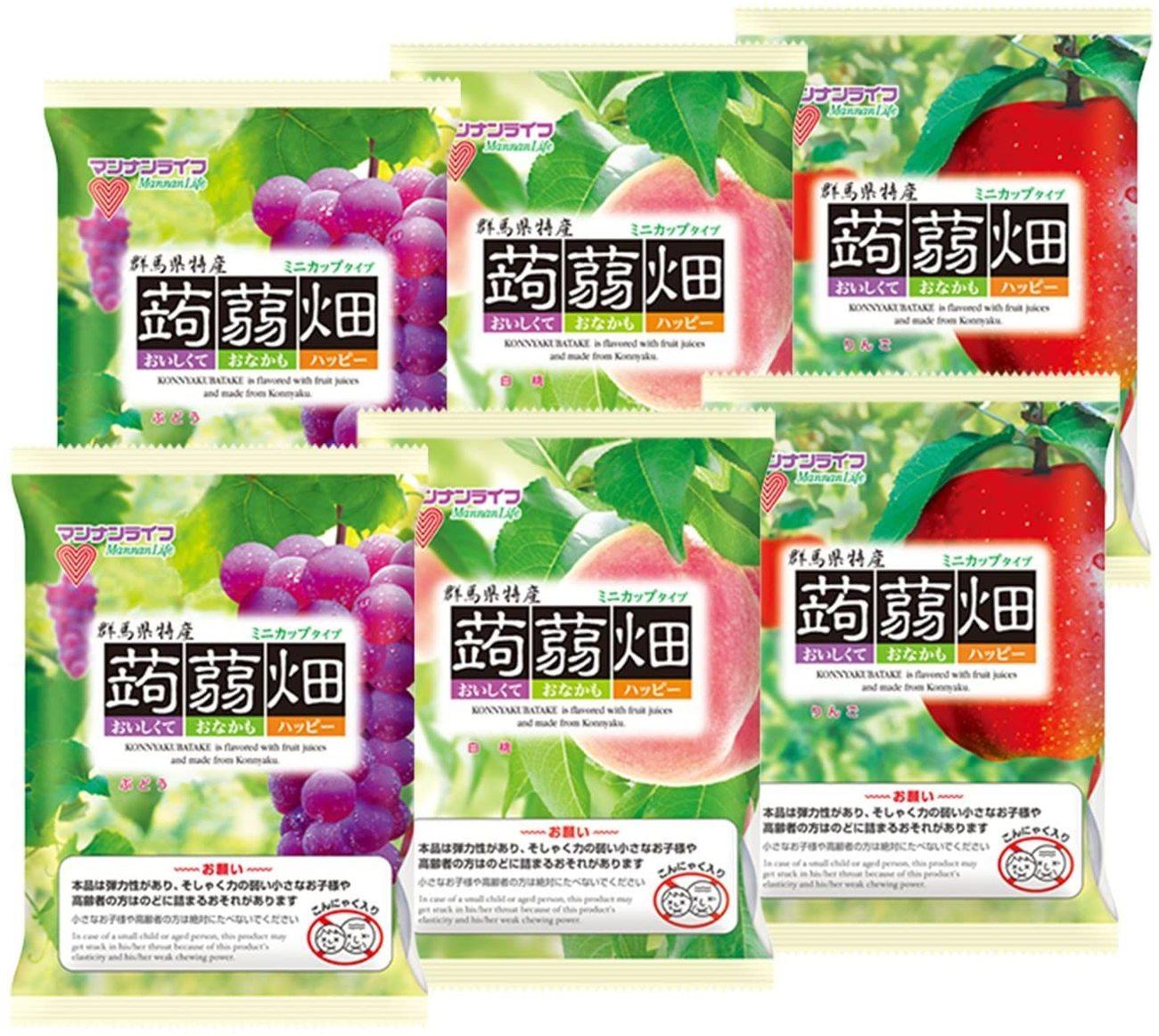 マンナンライフ 蒟蒻畑 3種 ぶどう味・白桃味・りんご味(25g×12個)