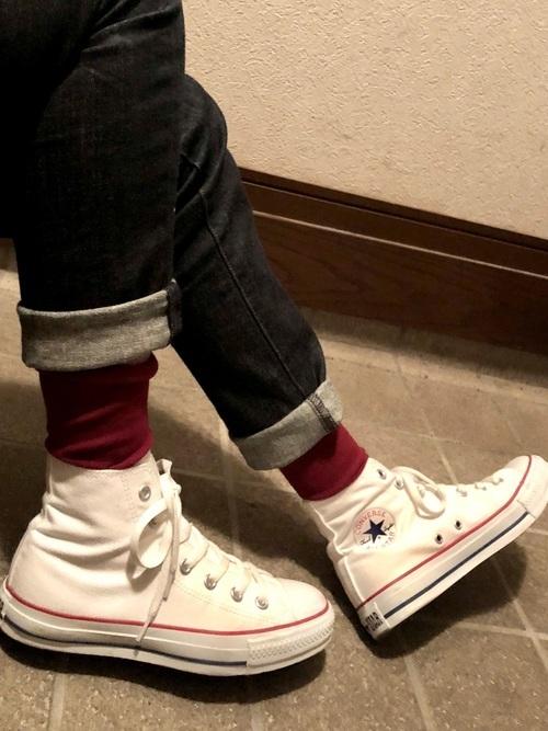 デニム×靴下の13度の服装