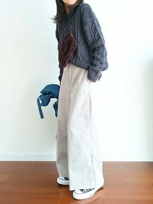 厚手のニットを使った13度の服装