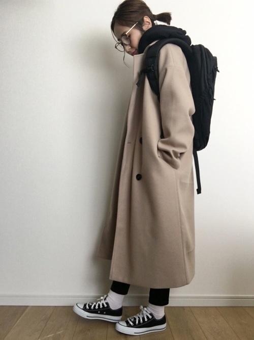 ロングコートを使った0度の服装