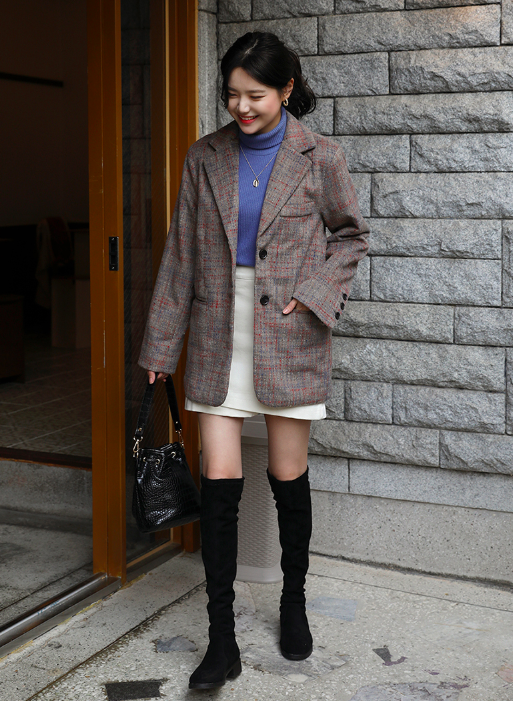 チェックジャケットを使った秋の可愛い服コーデ