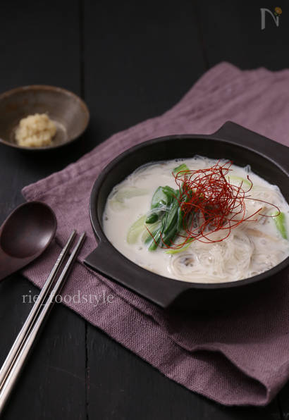 生姜ミルクの春雨スープ