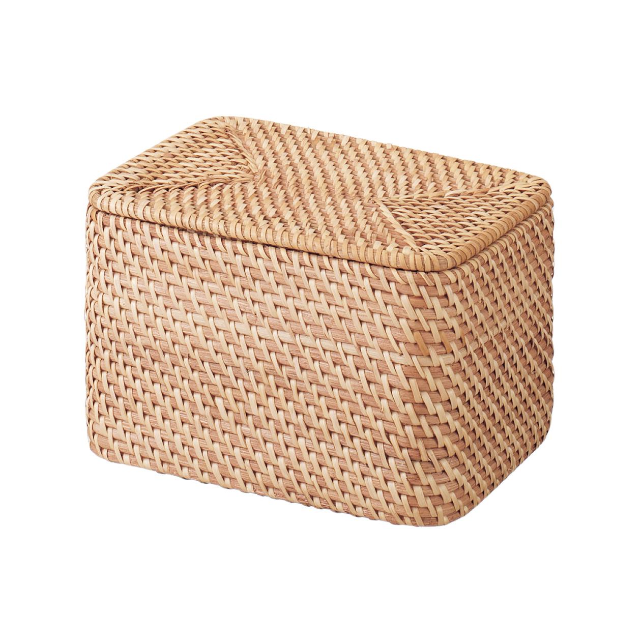 無印良品 重なるラタン長方形ボックス・フタ付 (V) 約幅26×奥行18×高さ16cm