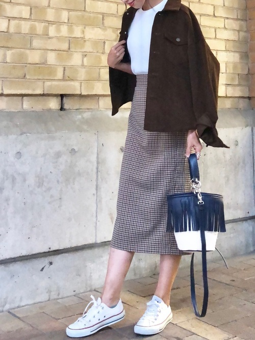 ワッフルTシャツ×タイトスカート