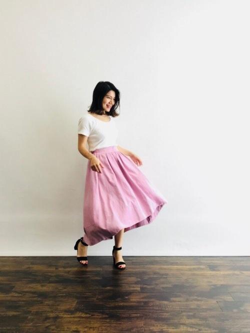 ワッフルTシャツ×フレアスカート