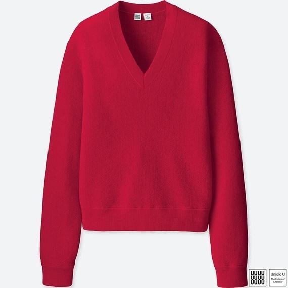 ウールVネックセーター