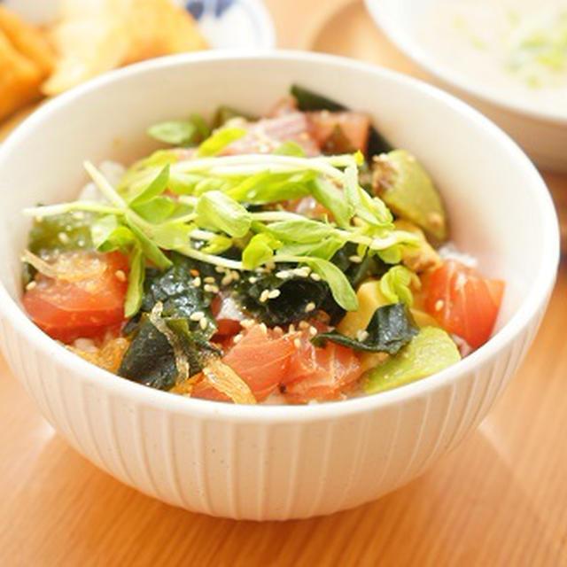 海藻たっぷり魚醤のアヒポキ丼