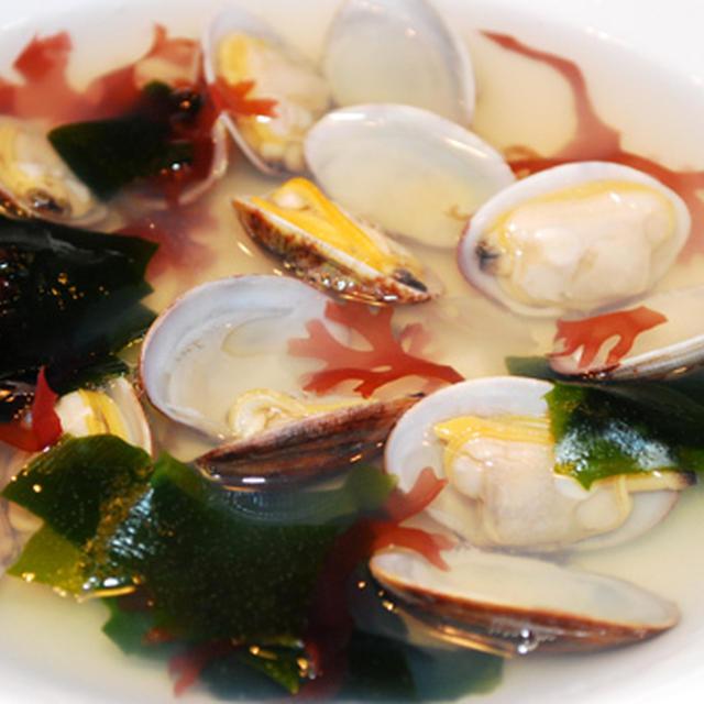 海藻とアサリのスープ