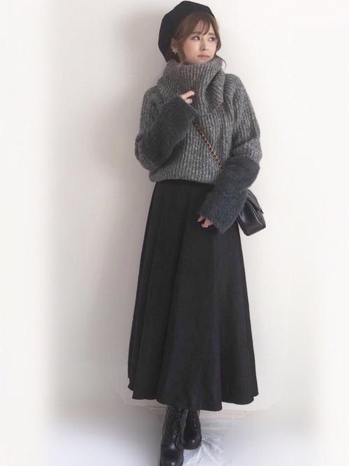 スエードスカートの冬コーデ