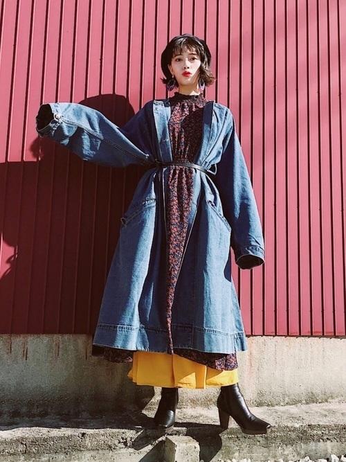 ロングスカートを使ったデニムコートコーデ