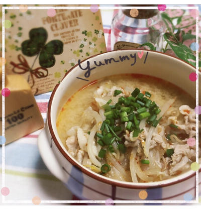 豚肉とモヤシの胡麻味噌スープのレシピ