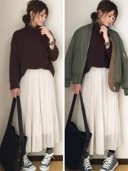 ユニクロのプリーツスカートの冬コーデ