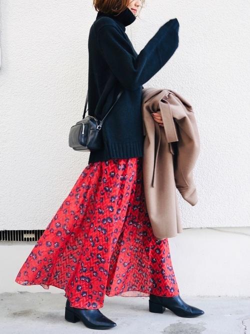 ロングスカートとサイドゴアブーツ