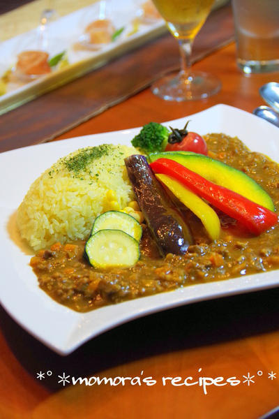 挽肉で簡単キーマカレー♬夏野菜カレー♡節約にものレシピ