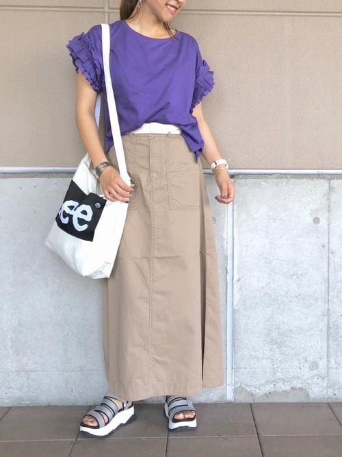 紫×ベージュ